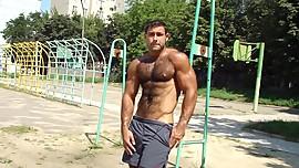 hairy muscle men tease