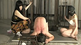 Two Japanese femdom Kyouka with black hair train slave