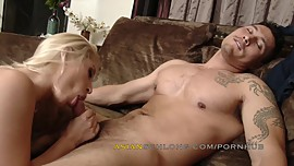 Asian male Jeremy Long and Hot Blonde Goldie Rush Swallow Scene AMWF AMXF