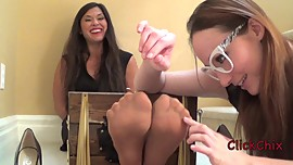 Tomiko stocked and tickled in Nylons