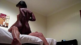 Ebony latina callgirl Anastasia takes on a huge white tourists cock in POV