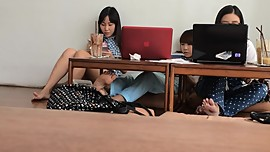 Candid Bare Feet of 2 Japanese Girls and Another Asian Girl