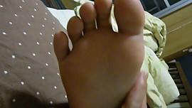 Sleeping Japanese Girl Gets British Reflexology On Feet