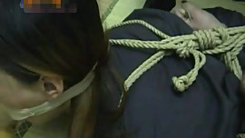 asian bondage in tight hogtie