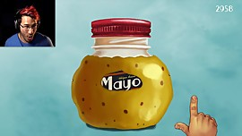 Sexy muscleman touches mayo sensually until it opens wide
