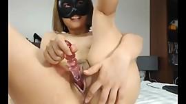 Sexy naughty Asian bating on camera