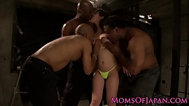 Asian mommy railed by black cocks foursome