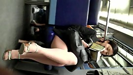 Candid Sexy Asian on Train in Pantyhose Nylons Feet  Heels